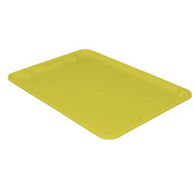 "Molded Fiberglass Toteline Nest and Stack Lid 780618 - 25-1/4"" x 18"", Pkg Qty 5, Yellow - Pkg Qty 5"