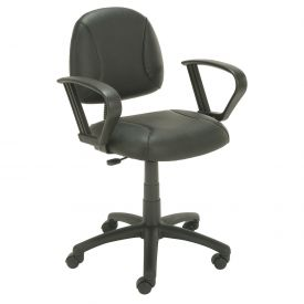 Boss Office Chair with Fixed Arms - Leather - Mid Back - Black
