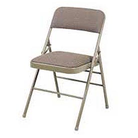 "Steel Folding Chair - 1-1/4"" Fabric Seat - Double Brace - Beige  - Pkg Qty 4"