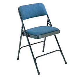 "Steel Folding Chair - 1-1/4"" Fabric Seat - Double Brace - Blue - Pkg Qty 4"