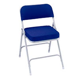 "Steel Folding Chair - 2"" Fabric Seat - Double Brace - Blue - Pkg Qty 2"