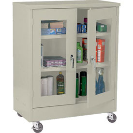 Sandusky Mobile Clear View Counter Height Storage Cabinet TA2V361842 -36x18x48, Putty