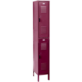 Penco 6211V-1-736 Vanguard Locker Pull Latch Double Tier 12x12x30 2 Doors Ready To Assemble Burgundy