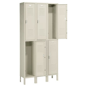 Penco 6211V-3 Vanguard Locker Pull Latch Double Tier 12x12x30 6 Doors Ready To Assemble Champagne