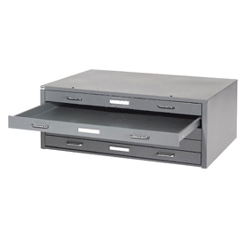 "Interion® - Blueprint Flat File Cabinet – 5 Drawer - 41""W – Gray"