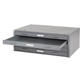 "Interion® - Blueprint Flat File Cabinet – 5 Drawer - 54""W – Gray"
