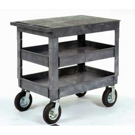 Plastic Flat Top Shelf Service & Utility Cart 2 Tray Shelves 8 Inch Caster