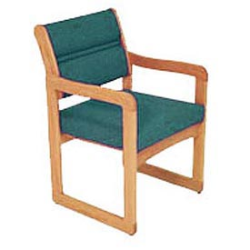 Single Chair With Arms Medium Oak Green Fabric