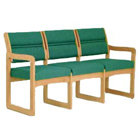 3 Seater Reception Sofa With 2 End Arms Medium Oak Green Fabric