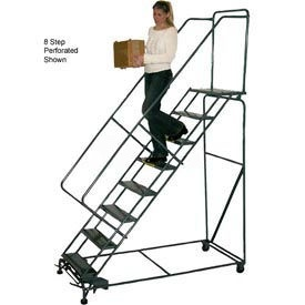 "9 Step 24""W Steel Safety Angle Rolling Ladder W/ Handrails - Perforated Tread"