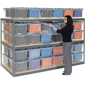 "Record Storage Rack Gray 48""W x 48""D x 84""H With  Polyethylene File Boxes"