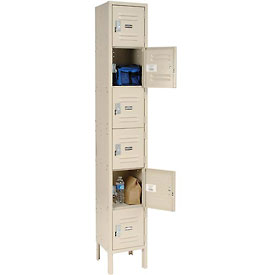 Global™ Locker Six Tier 12x12x12 6 Door Ready To Assemble Tan