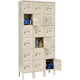Global™ Locker Six Tier 12x15x12 18 Door Ready To Assemble Tan