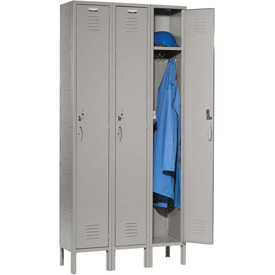 Capital™ Locker Single Tier 12x18x72 3 Door Ready To Assemble Gray