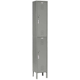 Capital® Locker Double Tier 12x15x36 2 Door Ready To Assemble Gray