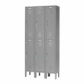 Capital™ Locker Double Tier 12x18x36 6 Door Ready To Assemble Gray