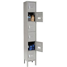 Global™ Locker Six Tier 12x15x12 6 Door Ready To Assemble Gray
