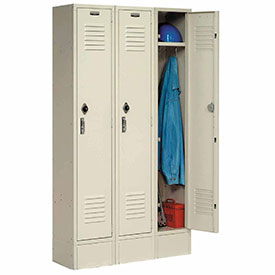 Paramount® Locker Single Tier 15x18x72 3 Door Ready To Assemble Tan