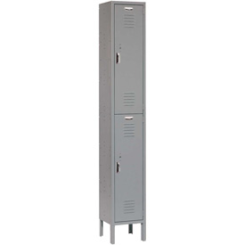 Paramount® Locker Double Tier 12x15x36 2 Door Ready To Assemble Gray