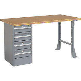"72"" W x 30"" D Pedestal Workbench W/ 4 Drawers, Shop Top Square Edge - Gray"