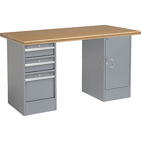 "72"" W x 30"" D Pedestal Workbench W/ 3 Drawers & 1 Cabinet, Shop Top Safety Edge - Gray"