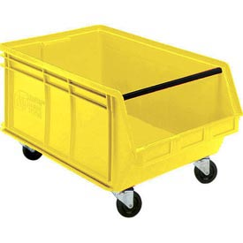Quantum Mobile Magnum Plastic Stackable Storage Bin QUS275MOB 16-1/2 x 18 x 11 Yellow - Pkg Qty 3