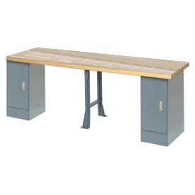 """144"""" W x 36"""" D Extra Long Industrial Workbench, Maple Butcher Block Square Edge - Gray"""