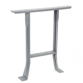 """144"""" W x 30"""" D Extra Long Industrial Workbench, Maple Butcher Block Square Edge - Gray"""