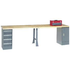"144"" W x 30"" D Extra Long Industrial Workbench, Shop Top Safety Edge - Gray"