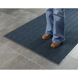 Chevron Ribbed  Mat 4 X8 Slate Blue
