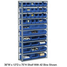 Steel Open Shelving with 30 Blue Plastic Stacking Bins 11 Shelves - 36x12x73