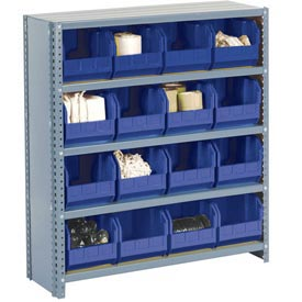 Steel Closed Shelving with 12 Blue Plastic Stacking Bins 5 Shelves - 36x18x39