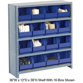 Steel Closed Shelving with 36 Blue Plastic Stacking Bins 10 Shelves - 36x18x73