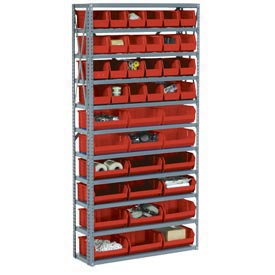 Steel Open Shelving with 42 Red Plastic Stacking Bins 11 Shelves - 36x12x73
