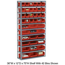 Steel Open Shelving with 36 Red Plastic Stacking Bins 10 Shelves - 36x12x73