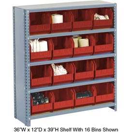 Steel Closed Shelving with 21 Red Plastic Stacking Bins 6 Shelves - 36x12x39
