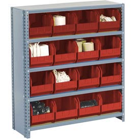 Steel Closed Shelving with 42 Red Plastic Stacking Bins 11 Shelves - 36x12x73