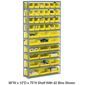 Steel Open Shelving with 21 Yellow Plastic Stacking Bins 6 Shelves - 36x12x39