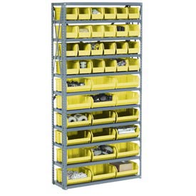 Steel Open Shelving with 16 Yellow Plastic Stacking Bins 5 Shelves - 36x18x39