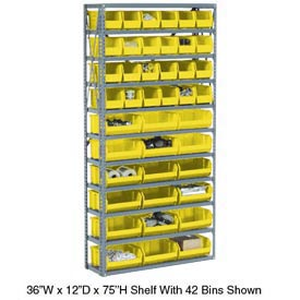 Steel Open Shelving with 36 Yellow Plastic Stacking Bins 10 Shelves - 36x12x73