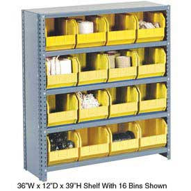 Steel Closed Shelving with 42 Yellow Plastic Stacking Bins 11 Shelves - 36x12x73