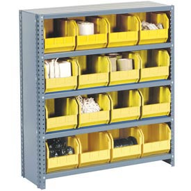 Steel Closed Shelving with 36 Yellow Plastic Stacking Bins 10 Shelves - 36x12x73