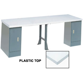"144"" W x 30"" D Extra Long Production Workbench, Plastic Laminate Square Edge - Gray"