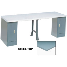 """144"""" W x 30"""" D Extra Long Production Workbench, Steel Square Edge - Gray"""