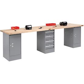 "120 x 30"" D Extra Long Production Workbench, Maple Butcher Block Square Edge - Gray"
