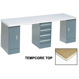 """120"""" W x 30"""" D Extra Long Production Workbench, Shop Top Square Edge - Gray"""