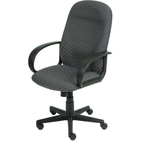 Office Chair with Fixed Arms - Designer Fabric - High Back - Gray
