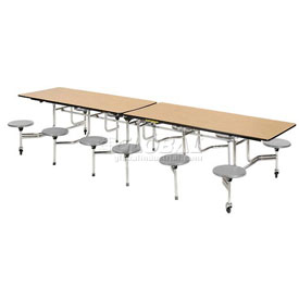"Virco® Folding Mobile Cafeteria Table with Seats - 120""L - Medium Oak Top - 12 Gray Seats"