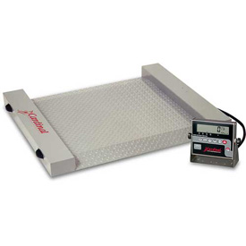 "Detecto RW-500 Digital Floor Scale 500lb x 0.5lb 40-1/2"" x 32-1/2"" Plat. W/ Built In Ramps, Wheels"