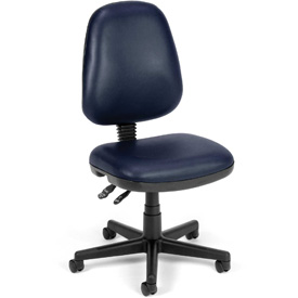 OFM Antimicrobial Office Chair - Vinyl - Mid Back - Blue